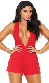 Sleeveless stretch Lycra romper with plunging deep V neckline, wide criss cross shoulder straps, and waist tie closure.