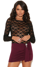 Long sleeve mini dress with sheer floral lace top, stretch Lycra skirt, rhinestone jewel accent and draped front panel.