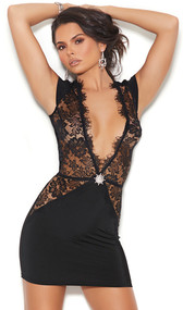 Stretch Lycra and eyelash lace mini dress with plunging V neckline, short cap sleeves, and rhinestone jewel accent. Plain Lycra back.