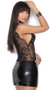 Sleeveless wet look and sheer eyelash lace mini dress with deep V neckline, scalloped trim and back zipper closure.