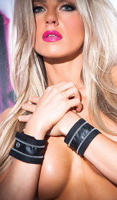 Faux leather zipper wrist cuffs with snap closure. Pair.