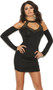 Long sleeve mini dress with studded collar neckline with v neck keyhole, cold shoulder style attached sleeves, ruched sides, and keyhole back. Slip on style.