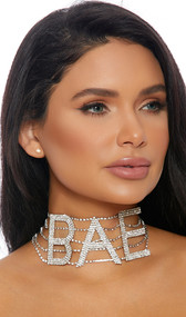 """Rhinestone choker with BAE lettering and adjustable lobster clasp closure. Letters measure about 2-1/4"""" tall."""