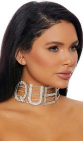 """Rhinestone choker with QUEEN lettering and adjustable lobster clasp closure. Letters measure about 2-1/4"""" tall."""