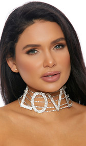 """Rhinestone choker with LOVE lettering and adjustable lobster clasp closure. Letters measure about 2-1/4"""" tall."""