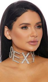 """Rhinestone choker with SEXY lettering and adjustable lobster clasp closure. Letters measure about 2-1/4"""" tall."""