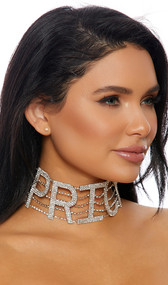 "Rhinestone choker with PRICEY lettering and adjustable lobster clasp closure. Letters measure about 2-1/4"" tall."