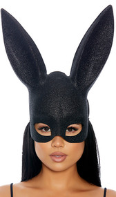 Plastic bunny mask with tall ears, black glitter finish and elastic strap. Glitter is on front side only, back side is plain black. Features two foam cushions on back side for comfort.