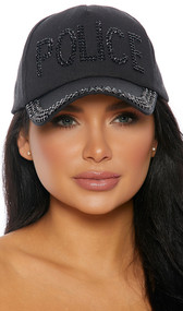 Black baseball style cap with studded black rhinestones saying POLICE, studded brim, and adjustable back hook and loop closure.