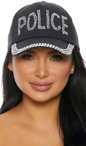 Black baseball style cap with studded silver rhinestones saying POLICE, studded brim, and adjustable back hook and loop closure.