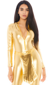 Metallic gold waist belt with front and back pointed panels and back hook and loop closure.