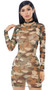 Camouflage print sheer mesh mini dress with long sleeves. Pull on style.