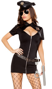 Police Hottie costume includes short sleeve mini dress with cut out neckline, zipper front and high neck. Plastic handcuffs, grommet belt, plastic baton, hat and badge also included. Six piece set.