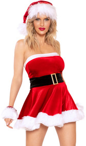 Santa Cutie costume includes strapless velvet mini dress with faux fur trim and attached belt with buckle. One piece set.