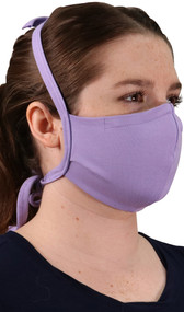 Double layer cotton face mask with adjustable tie straps that go behind the head and neck.
