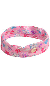 Pink cloth headband with buttons and multi-color flower and metallic butterfly design.