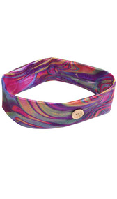 Metallic purple rainbow cloth headband with buttons and tie dye design.