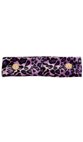 Purple velvet cloth headband with buttons and leopard print design.