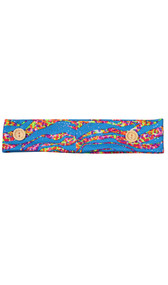 Turquoise blue cloth headband with buttons and metallic under the sea print design.
