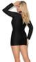 Long sleeve Lycra mini dress with plunging V neckline, grommet detail, lace up front and V back.
