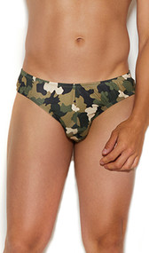 Men's camouflage print thong back brief.