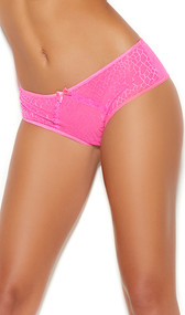 Reptile print mesh crotchless panty with lace insert, mini satin bows, and keyhole back.