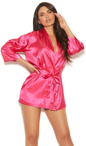 Charmeuse short length kimono style robe with detachable belt and three quarter sleeves.