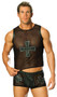 Mesh tank top with leather trim and leather cross trimmed in nail heads.