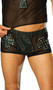 Leather and mesh shorts with cross and nail head detail.