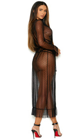 Sheer dotted mesh long length robe with long sleeves, lace trim, ruffled hem, and matching belt. G-string panty with triple straps also included. Two piece set.