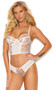 Embroidered mesh cami top with underwire cups, sheer floral panels, adjustable shoulder straps and keyhole hook and eye back closure. Matching panty with ruched back included. Two piece lingerie set.