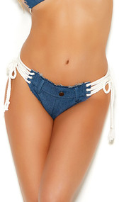 Denim micro mini shorts with lace up sides, front belt loops, decorative button and cheeky cut back. Matching top sold separately