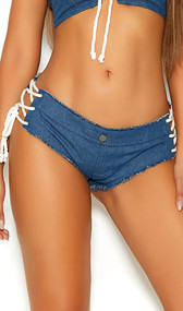 Denim booty shorts with lace up sides, decorative button, frayed edges and cheeky cut back.