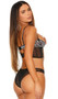 Sheer mesh cami top with underwire demi cups, white leopard print accents, keyhole front and back, adjustable shoulder straps and back hook and eye closure. Matching cheeky cut panty with ruched back also included. Two piece lingerie set.