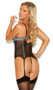 Mesh bustier with underwire demi cups, white leopard accents, keyhole front and back, adjustable shoulder straps, hook and eye back closure, and adjustable garters. Matching G-string also included. Two piece lingerie set.