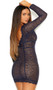 Eyelash lace long sleeve mini dress with double band empire waist, double vertical bands, and deep V front and back with scalloped trim.