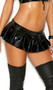 Vinyl pleated micro mini skirt with back snap and zipper closure.