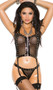Fishnet cami top with studded vinyl trim, adjustable shoulder straps and zipper front closure. Garters are adjustable and detachable. Matching G-string with elastic back also included. Two piece set.