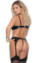 Vinyl bustier with underwire demi cups, studded square nail head detail, cut out open sides, adjustable shoulder straps, and double adjustable back buckle closures. Garters are adjustable and detachable.