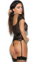 Fishnet short sleeve camisette with vinyl trim, scoop neck and back, lace up front, and adjustable attached garters. Vinyl G-string with elastic back also included. Two piece set.