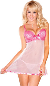 Sheer mesh flyaway-back babydoll and matching g-string. Babydoll has slightly padded cups with underwire and lace overlay. Babydoll has a mesh bodice with satin trim, adjustable straps, adjustable back hook and eye closure, and satin bow detail in both front and back. Accessories not included.