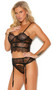Sleeveless eyelash lace cami top with strappy cage style accents, underwire cups, adjustable shoulder straps and keyhole hook and eye back closure. Matching garter belt with adjustable garters and hook and eye back closure. Matching G-string also included. Three piece lingerie set.