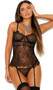 Eyelash lace bustier with strappy cage style accents, underwire cups, adjustable shoulder straps, keyhole hook and eye back closure, and adjustable garters. Matching G-string also included. Two piece lingerie set.