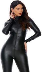 Long sleeve embossed catsuit with mock neck and front zipper closure.