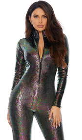 Long sleeve velvet catsuit with reptile print iridescent foil embossing, mock neck and front zipper closure.