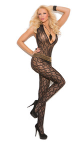 Deep V floral lace bodystocking with halter style neck and open crotch.