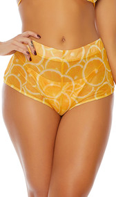 Ocho Rios sheer mesh coverup shorts feature a high waist with wide band, cheeky cut back, and a fruity orange print.