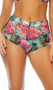 Ocho Rios sheer mesh coverup shorts feature a high waist with wide band, cheeky cut back, and a tropical watermelon print.