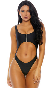 Medellin one piece swimsuit features a sexy cut out midsection, wide shoulder straps, front zipper closure, and cheeky cut back.
