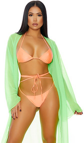Tahiti Kimono features a sheer mesh full length swim coverup with flowing open front and long wide sleeves.